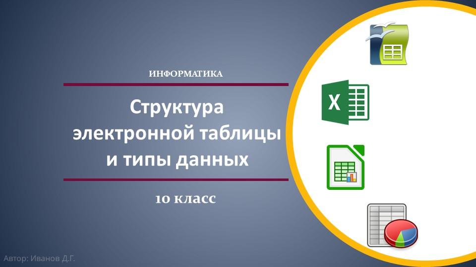 Структура электронной таблицы и типы данныхИНФОРМАТИКА10 классАвтор: Иванов Д.Г.