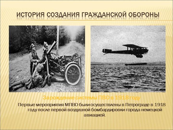 История создания гражданской обороныЗарождение системы ПВО в 1918 годуПервые...