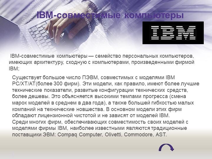 IBM-совместимые компьютеры IBM-совместимые компьютеры — семейство персональ...