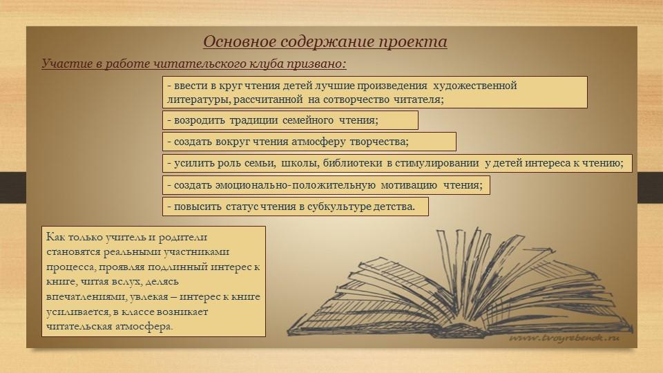 Основное содержание проектаУчастие в работе читательского клуба призвано:- вв...