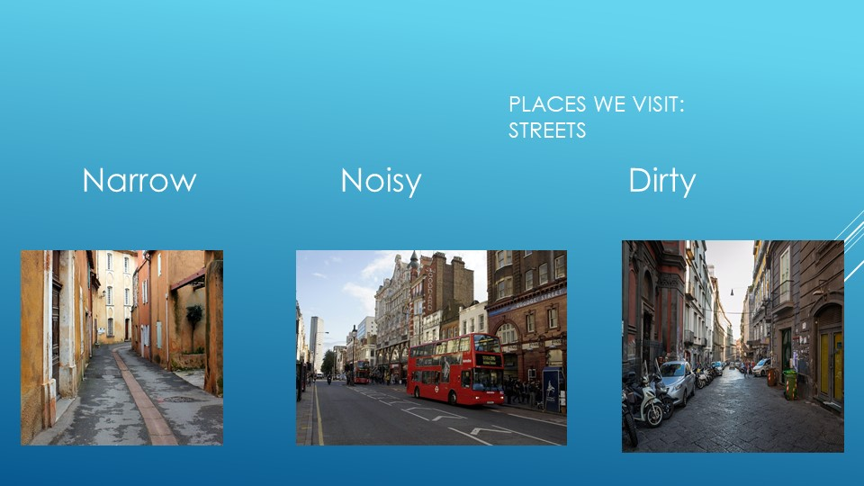 Places we visit:streets Narrow                Noisy                       Dirty