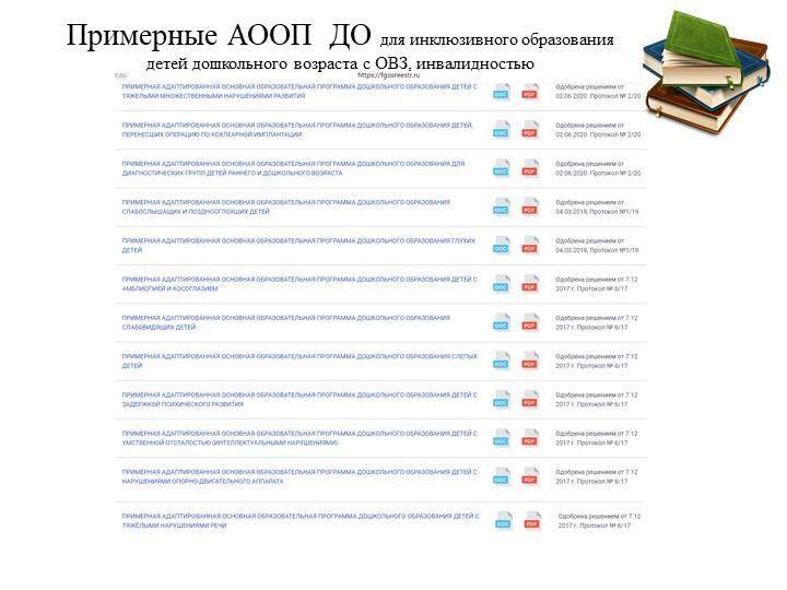 Примерные АООП  ДО для инклюзивного образования детей дошкольного возраста с...