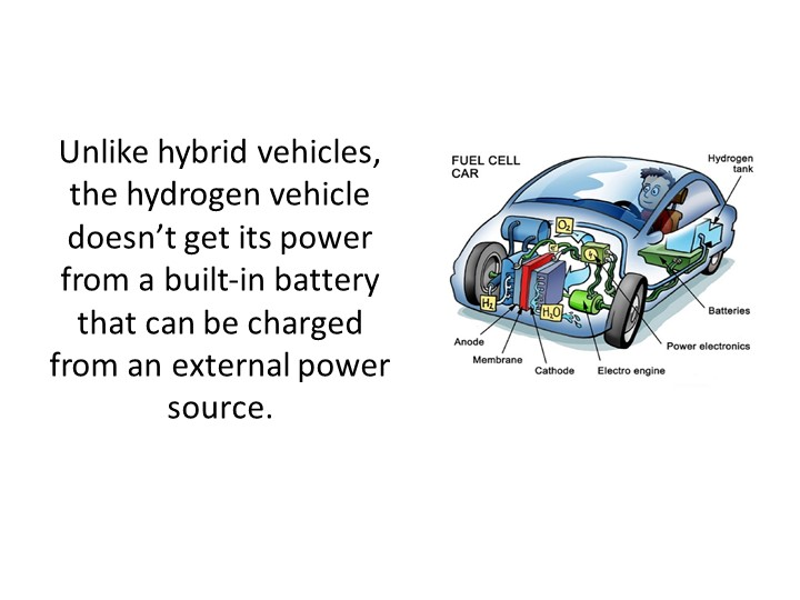 Unlike hybrid vehicles, the hydrogen vehicle doesn't get its power from a bui...