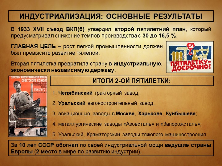 ИНДУСТРИАЛИЗАЦИЯ: ОСНОВНЫЕ РЕЗУЛЬТАТЫВ 1933 XVII съезд ВКП(б) утвердил второй...