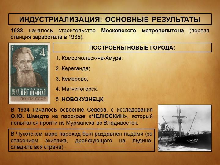 ИНДУСТРИАЛИЗАЦИЯ: ОСНОВНЫЕ РЕЗУЛЬТАТЫ1933 началось строительство Московского...