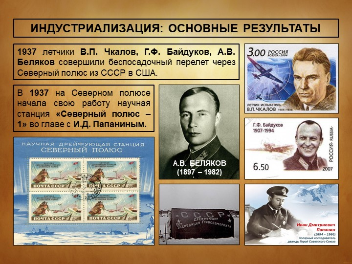 ИНДУСТРИАЛИЗАЦИЯ: ОСНОВНЫЕ РЕЗУЛЬТАТЫ1937 летчики В.П. Чкалов, Г.Ф. Байдуков,...