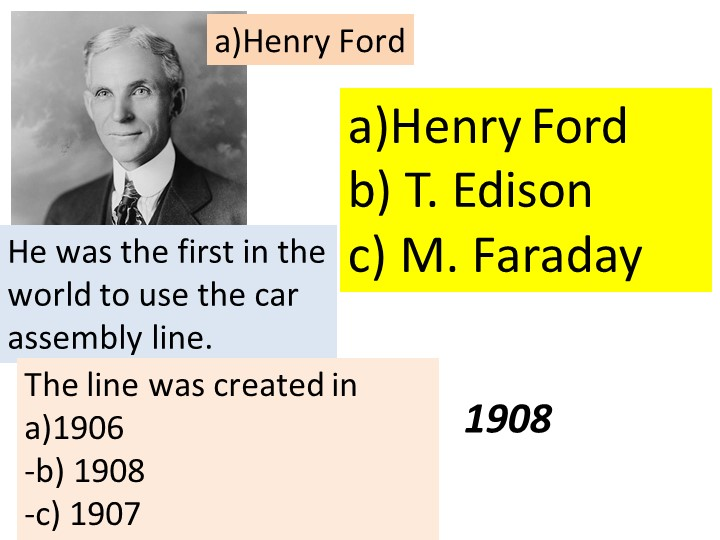 a)Henry Fordb) T. Edisonc) M. FaradayHe was the first in the world to use t...