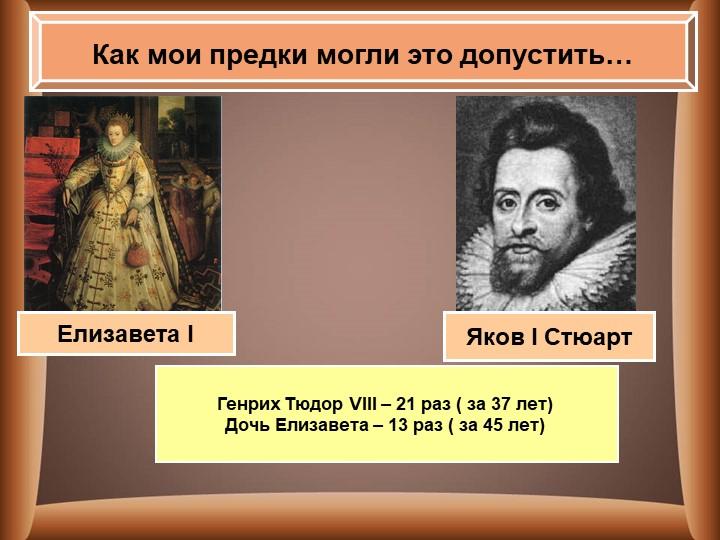 Как мои предки могли это допустить…Яков I СтюартЕлизавета IГенрих Тюдор VII...