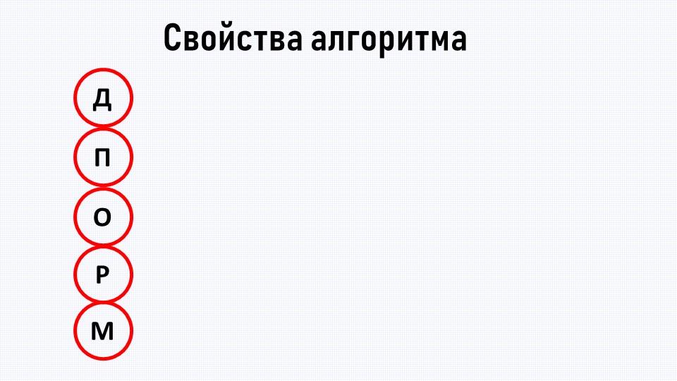 Свойства алгоритмаДПОРМДискретность (разделение на шаги) Понятность (для конк...