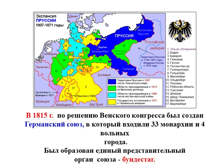 Образование Германского союза1815г. – Германский союз: 35 монархий и 4 вольн...