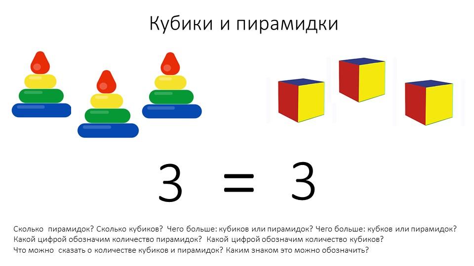 Кубики и пирамидкиСколько  пирамидок? Сколько кубиков?  Чего больше: кубиков...
