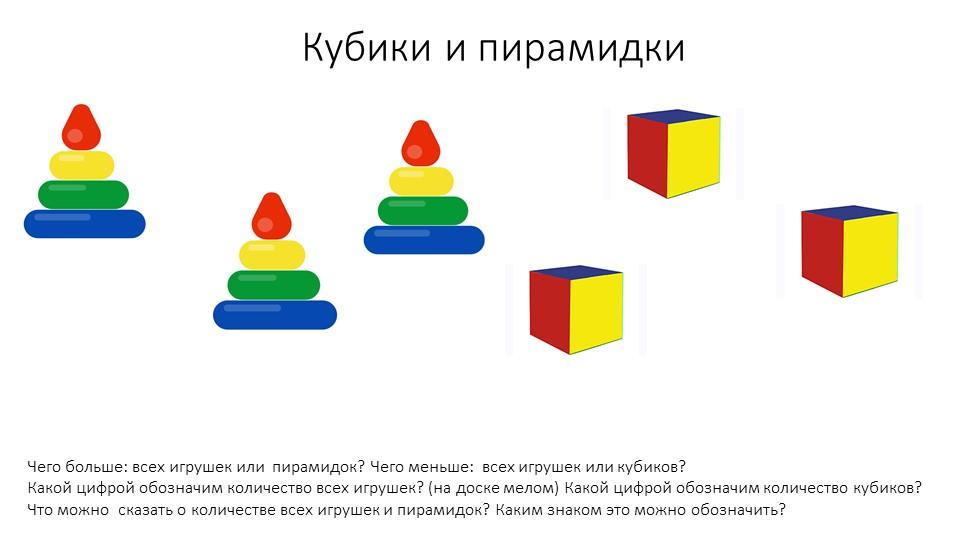 Кубики и пирамидкиЧего больше: всех игрушек или  пирамидок? Чего меньше:  все...