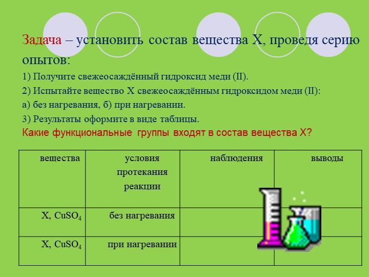 Задача – установить состав вещества X, проведя серию опытов: 1) Получите све...