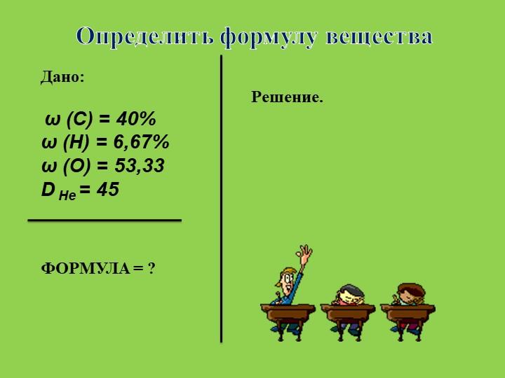 Определить формулу веществаДано:              Решение. ω (С) = 40%ω (...