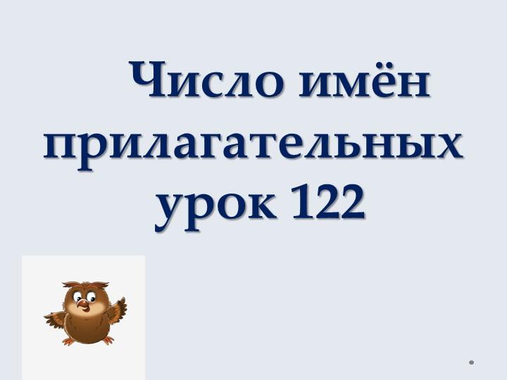 Число имён   прилагательных урок 122