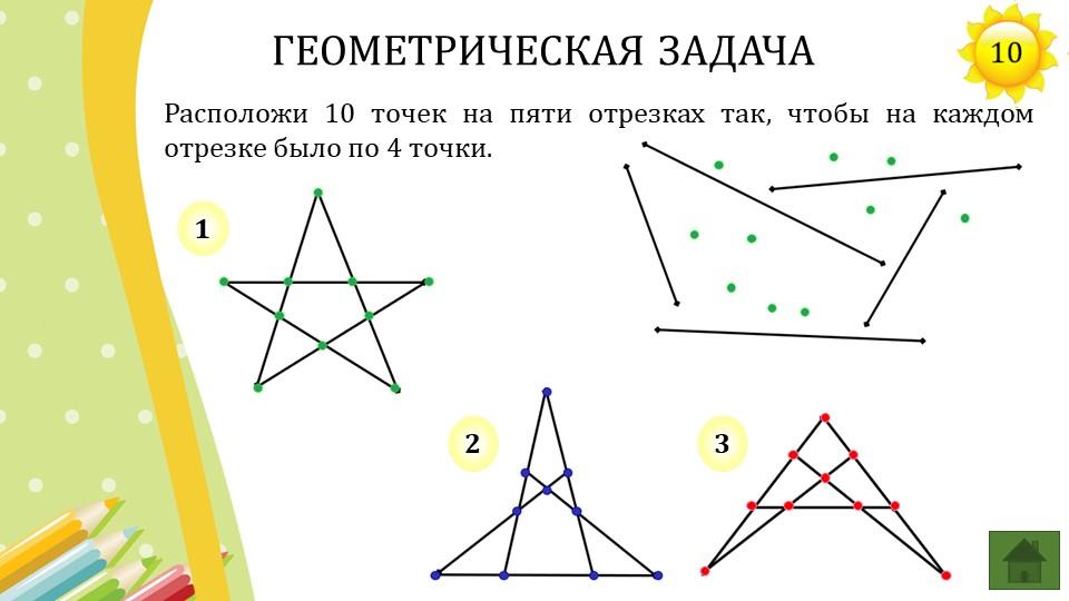 Расположи 10 точек на пяти отрезках так, чтобы на каждом отрезке было по 4 то...