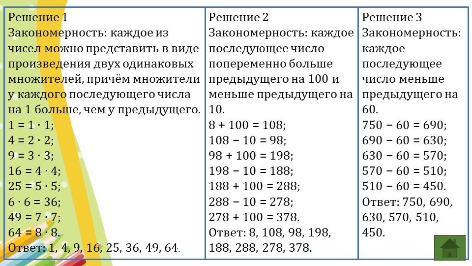 Решение 1Закономерность: каждое из чисел можно представить в виде произведен...