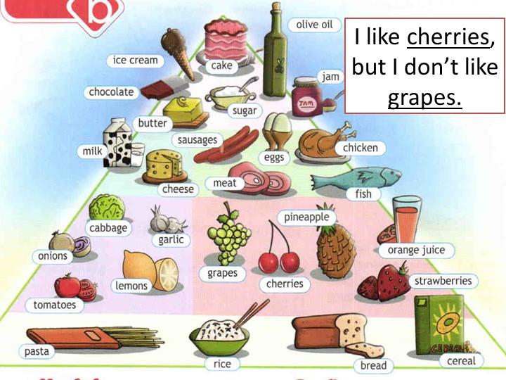 I like cherries, but I don't like grapes.