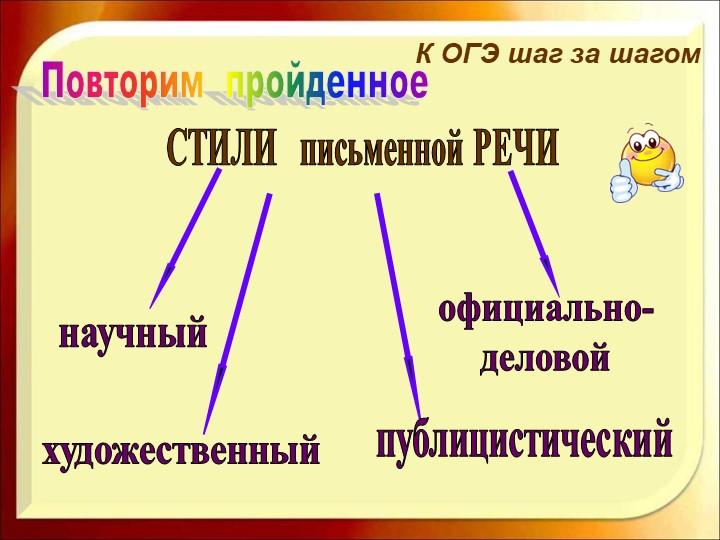К ОГЭ шаг за шагомПовторим  пройденноеСТИЛИ   письменной РЕЧИхудожественныйн...