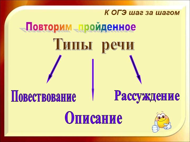 Повторим  пройденноеК ОГЭ шаг за шагомТипы  речиПовествованиеОписаниеРассужд...