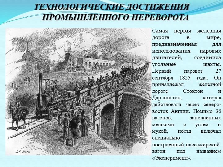 ТЕХНОЛОГИЧЕСКИЕ ДОСТИЖЕНИЯ ПРОМЫШЛЕННОГО ПЕРЕВОРОТАСамая первая железная доро...