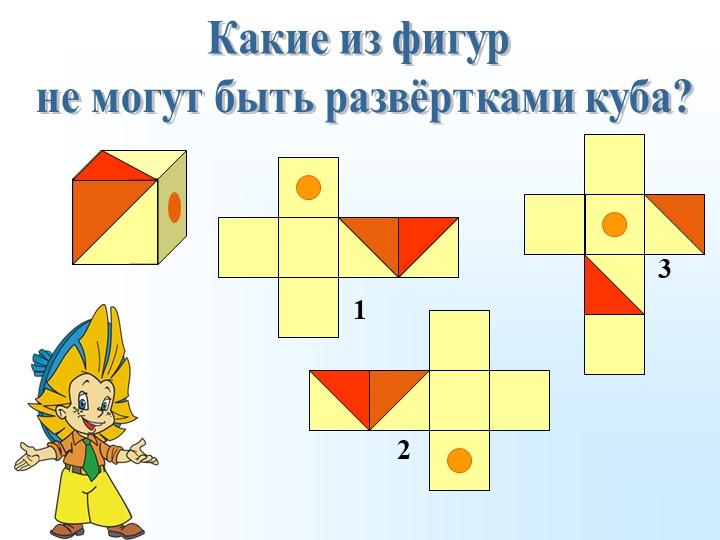 Какие из фигур не могут быть развёртками куба?123