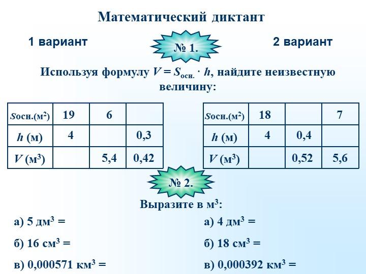 Математический диктант1 вариант2 вариантИспользуя формулу V = Sосн. · h, найд...