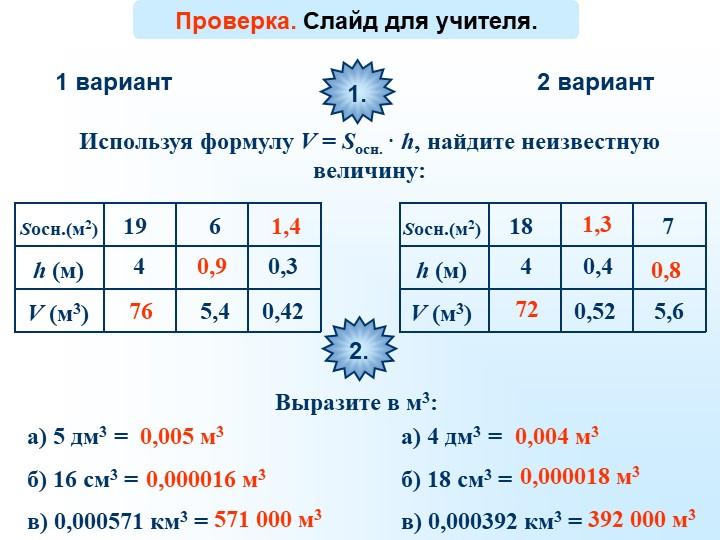 1 вариант2 вариантИспользуя формулу V = Sосн. · h, найдите неизвестную величи...