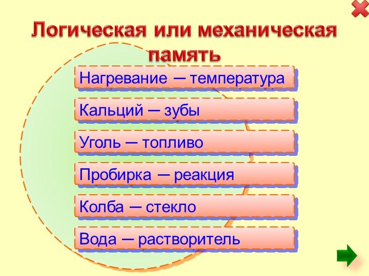 Логическая или механическая памятьНагревание ─ температураКальций ─ зубы...
