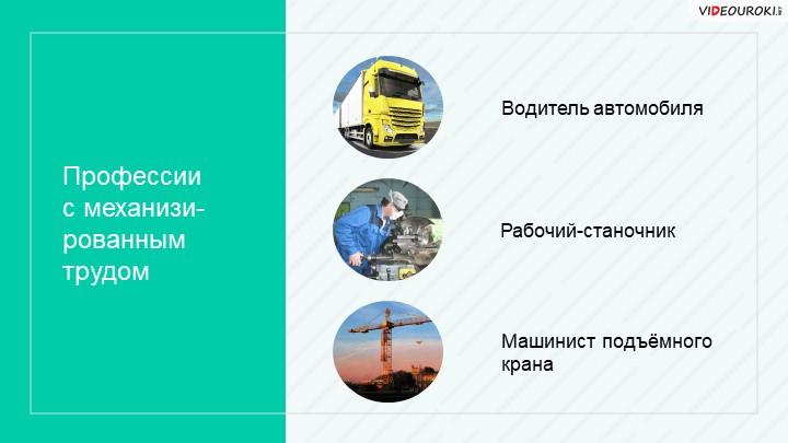 Профессиис механизи-рованным трудомВодитель автомобиляМашинист подъёмного кр...