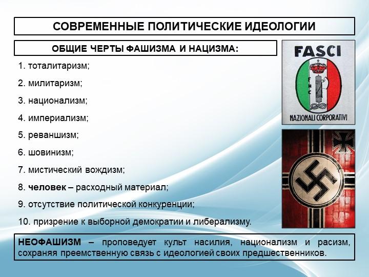 СОВРЕМЕННЫЕ ПОЛИТИЧЕСКИЕ ИДЕОЛОГИИОБЩИЕ ЧЕРТЫ ФАШИЗМА И НАЦИЗМА:1. тоталитари...