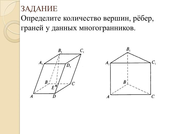 ЗАДАНИЕОпределите количество вершин, рёбер, граней у данных многогранников.