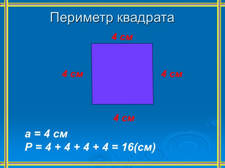 Периметр квадрата4 см4 см4 см4 см    а = 4 см    Р = 4 + 4 + 4 + 4 = 16(см)