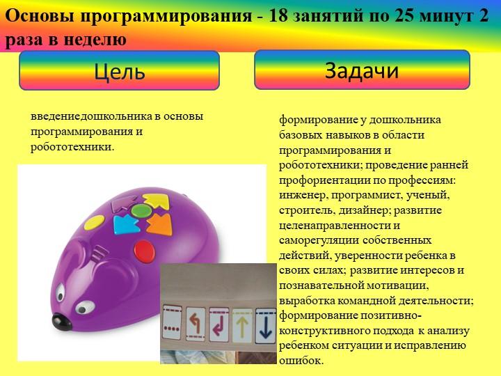 Основы программирования - 18 занятий по 25 минут 2 раза в неделюЦельЗадачивв...