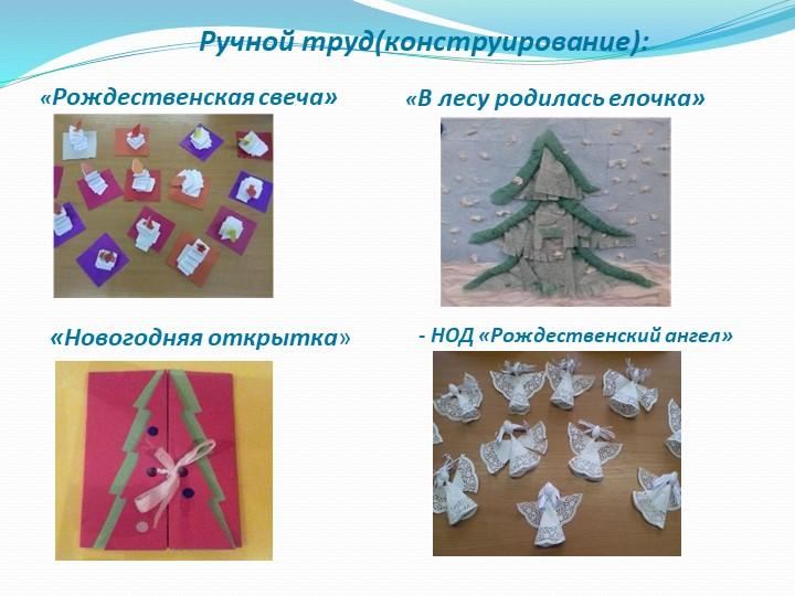«Рождественская свеча»«В лесу родилась елочка»Ручной труд(конструирование):«Н...