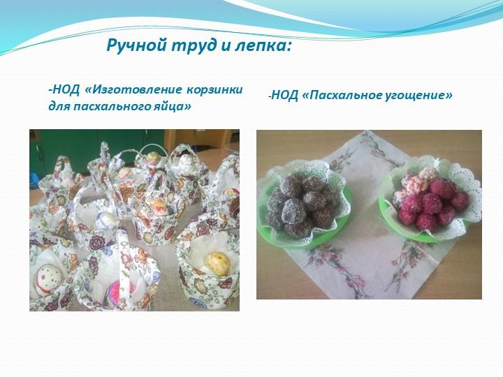 -НОД «Изготовление корзинки для пасхального яйца»Ручной труд и лепка:-НОД «Па...