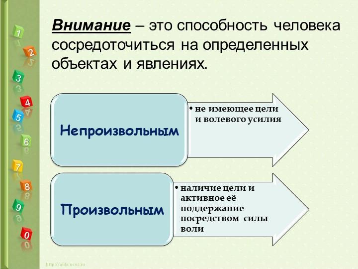 Внимание – это способность человека сосредоточиться на определенных объектах...