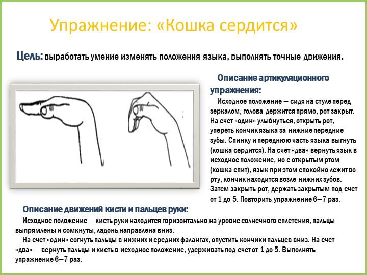Упражнение: «Кошка сердится»Цель: выработать умение изменять положения языка,...
