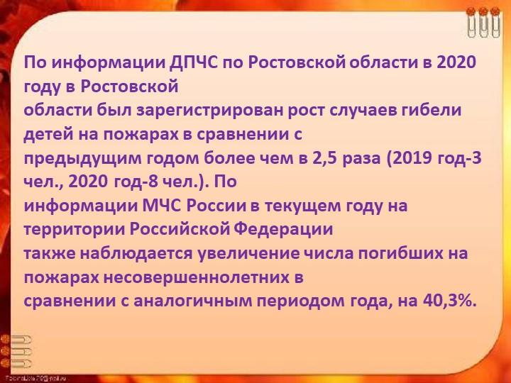 По информации ДПЧС по Ростовской области в 2020 году в Ростовскойобласти был...