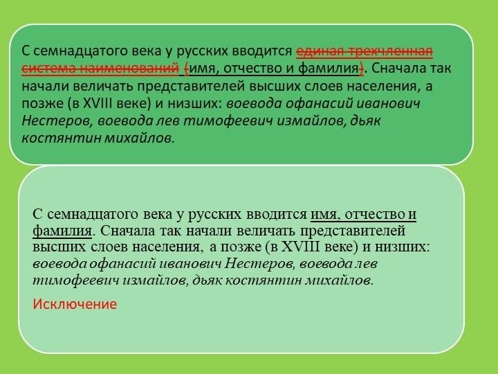 С семнадцатого века у русских вводится единая трехчленная система наименовани...