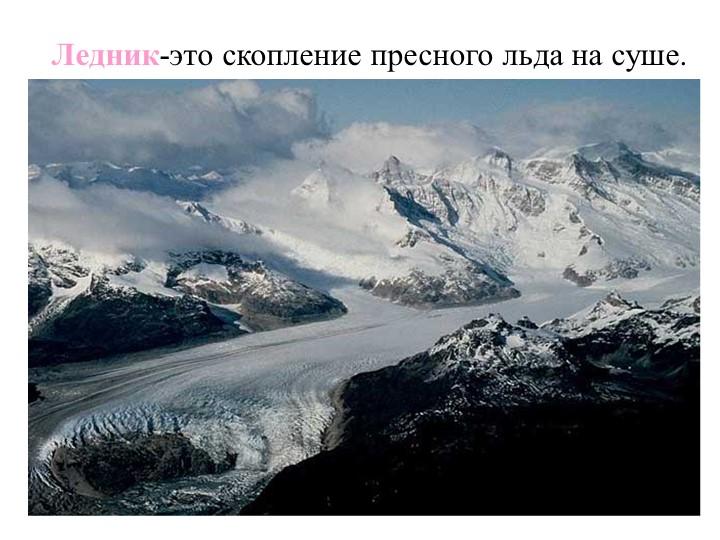 Ледник-это скопление пресного льда на суше.
