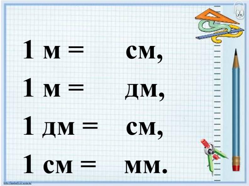 1 м =      см,1 м =      дм, 1 дм =    см,1 см =    мм.