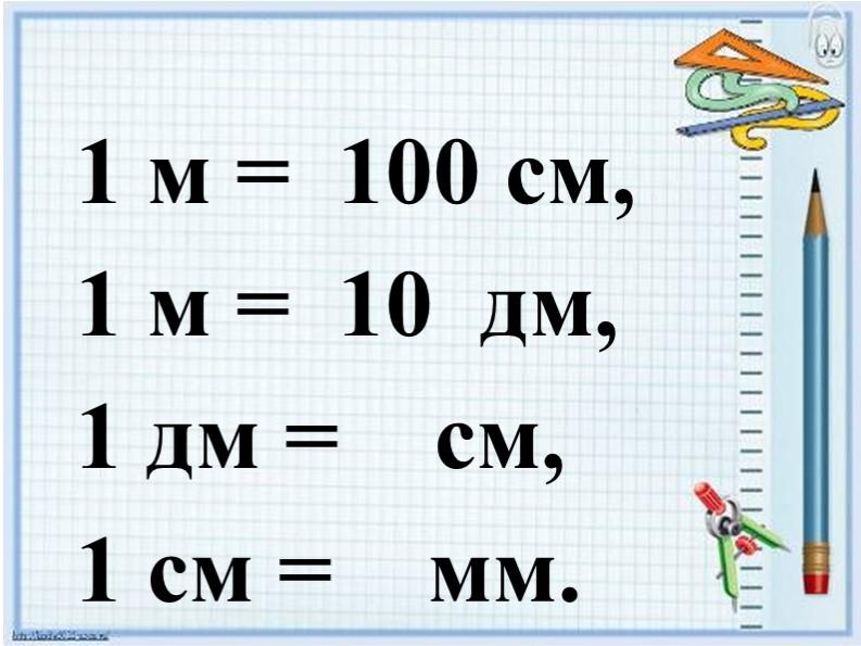 1 м =  100 см,1 м =  10  дм, 1 дм =    см,1 см =    мм.