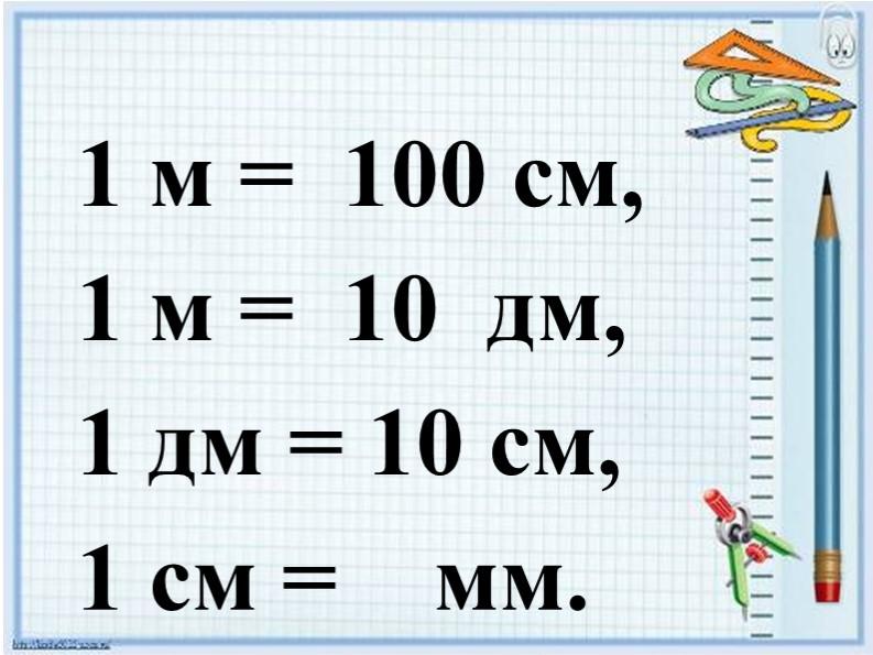 1 м =  100 см,1 м =  10  дм, 1 дм = 10 см,1 см =    мм.