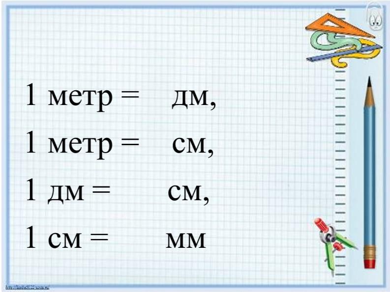 1 метр =    дм, 1 метр =    см, 1 дм =       см, 1 см =       мм