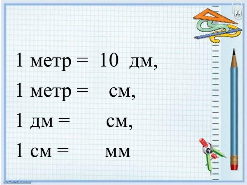 1 метр =  10  дм, 1 метр =    см, 1 дм =       см, 1 см =       мм