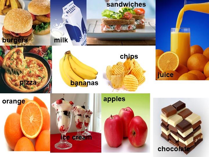 burgers chips sandwiches pizza milk juice orange bananas ice cream chocolate...