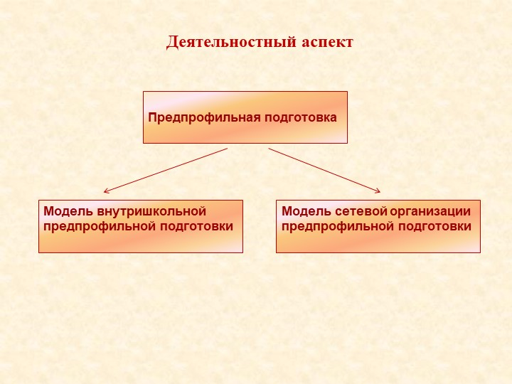 Модель сетевой организации предпрофильной подготовкиДеятельностный аспектМоде...