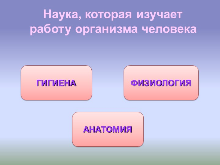 Наука, которая изучает работу организма человекаФИЗИОЛОГИЯГИГИЕНААНАТОМИЯ