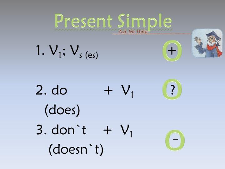 Present Simple1. V1; Vs (es)                 +2. do         +  V1         ?...